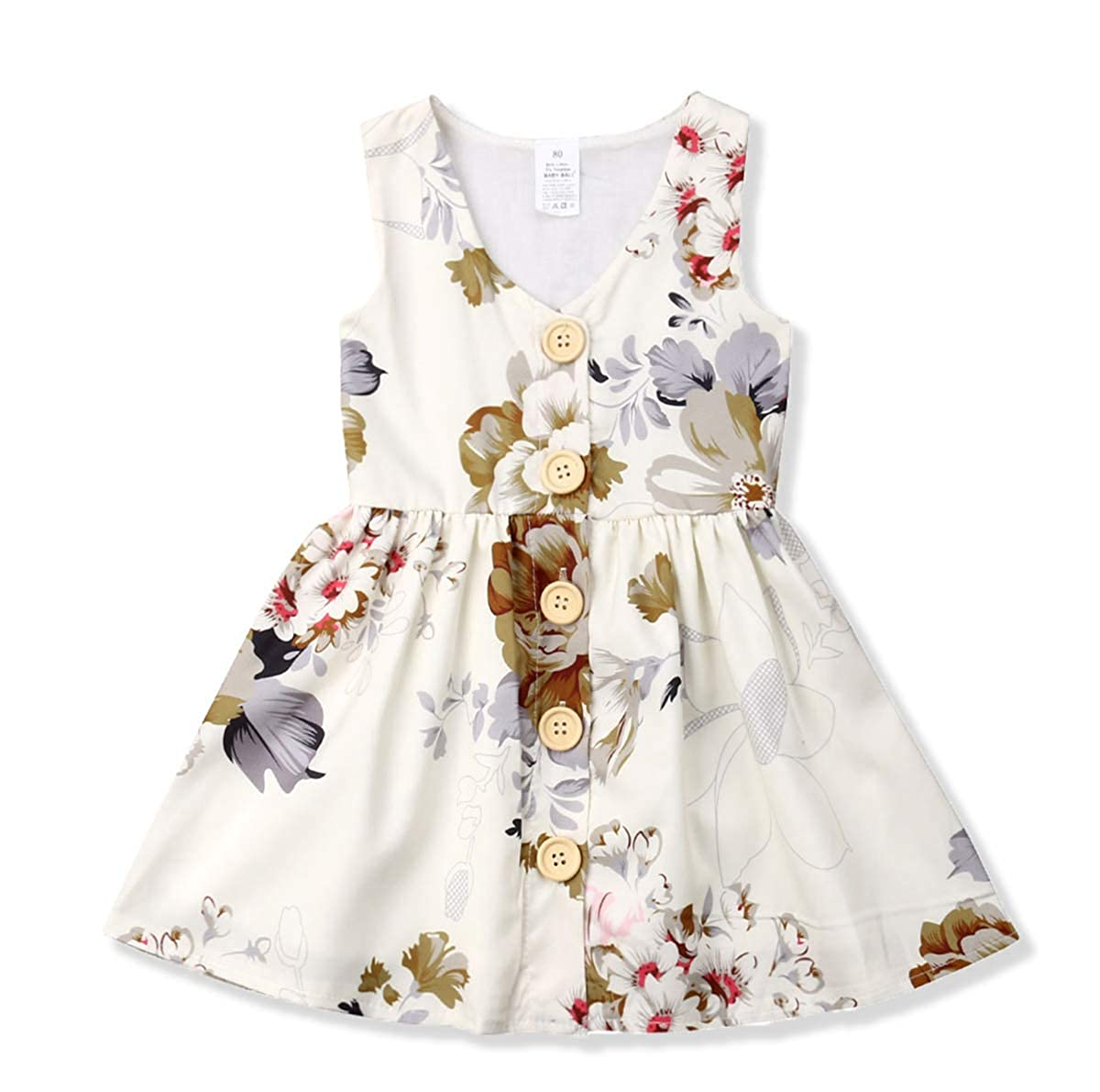 f9b82b695fdf Amazon.com  Toddler Baby Girl Dress Princess Floral Skirt Sleeveless ...