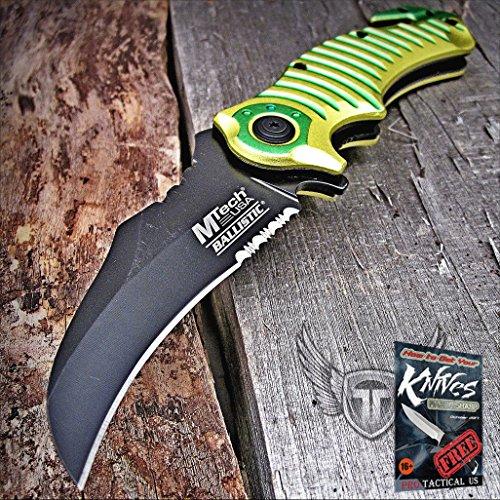 Mtech Spring Assisted Open Hawkbill Karambit Tactical Rescue Folder Pocket Elite Knife + free eBook by -