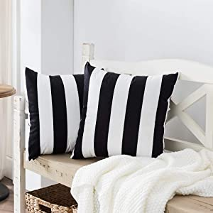 Nestinco Set of 2 Striped Pillow Covers Black and White Square Decorative Throw Pillow Covers 18 x 18 inches for Sofa Couch Bed Decor