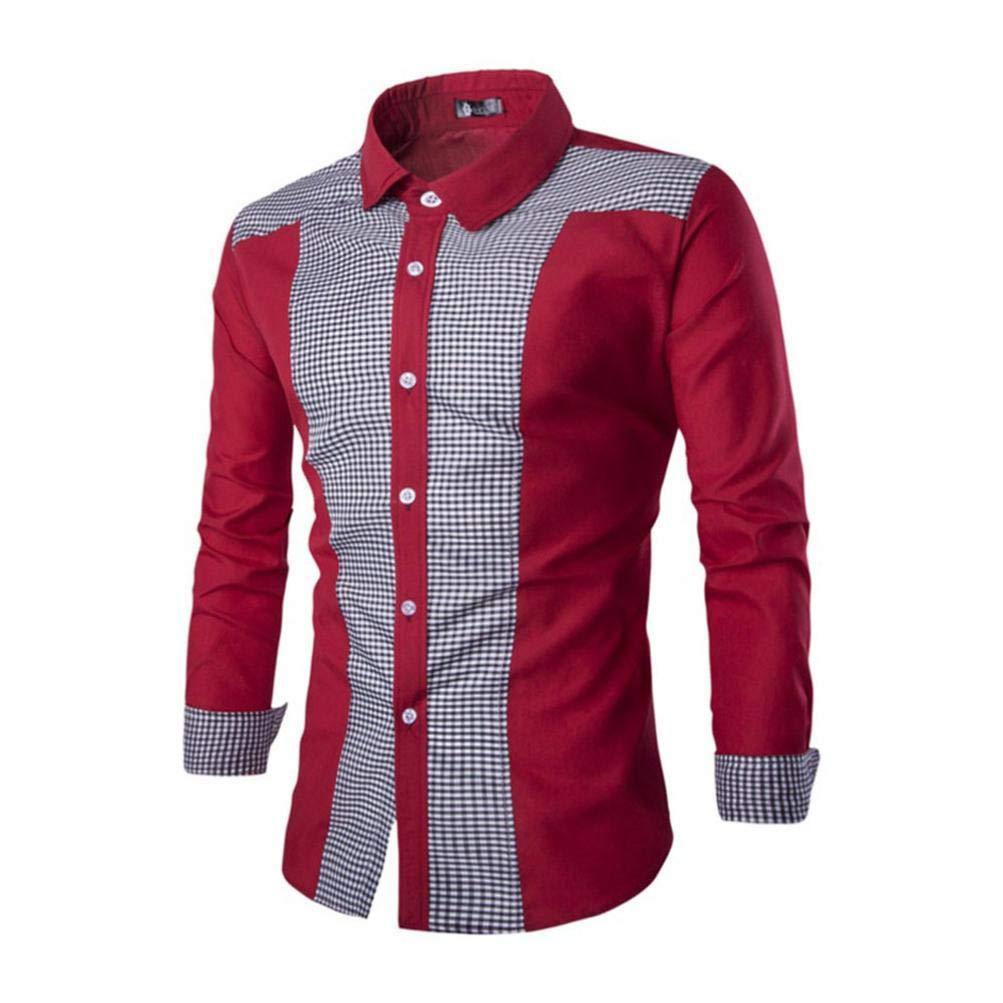 Paolian Les Hommes d'affaires Minces Revers Couture Chemise à Manches Longues à Carreaux, Mode Automne et Hiver Hommes Chemise
