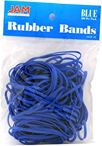 JAM PAPER Colorful Rubber Bands - Size 33 - Blue Rubberbands - 100/Pack