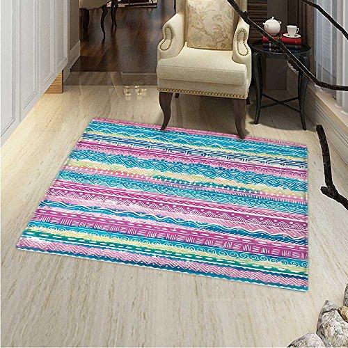 Tribal Floor Mat Pattern Watercolor Tie Dye Effect Artwork Stripes Aquatic Theme Bohemian Aztec Print Living Dinning Room & Bedroom Rugs 5'x6' Blue Pink Cream