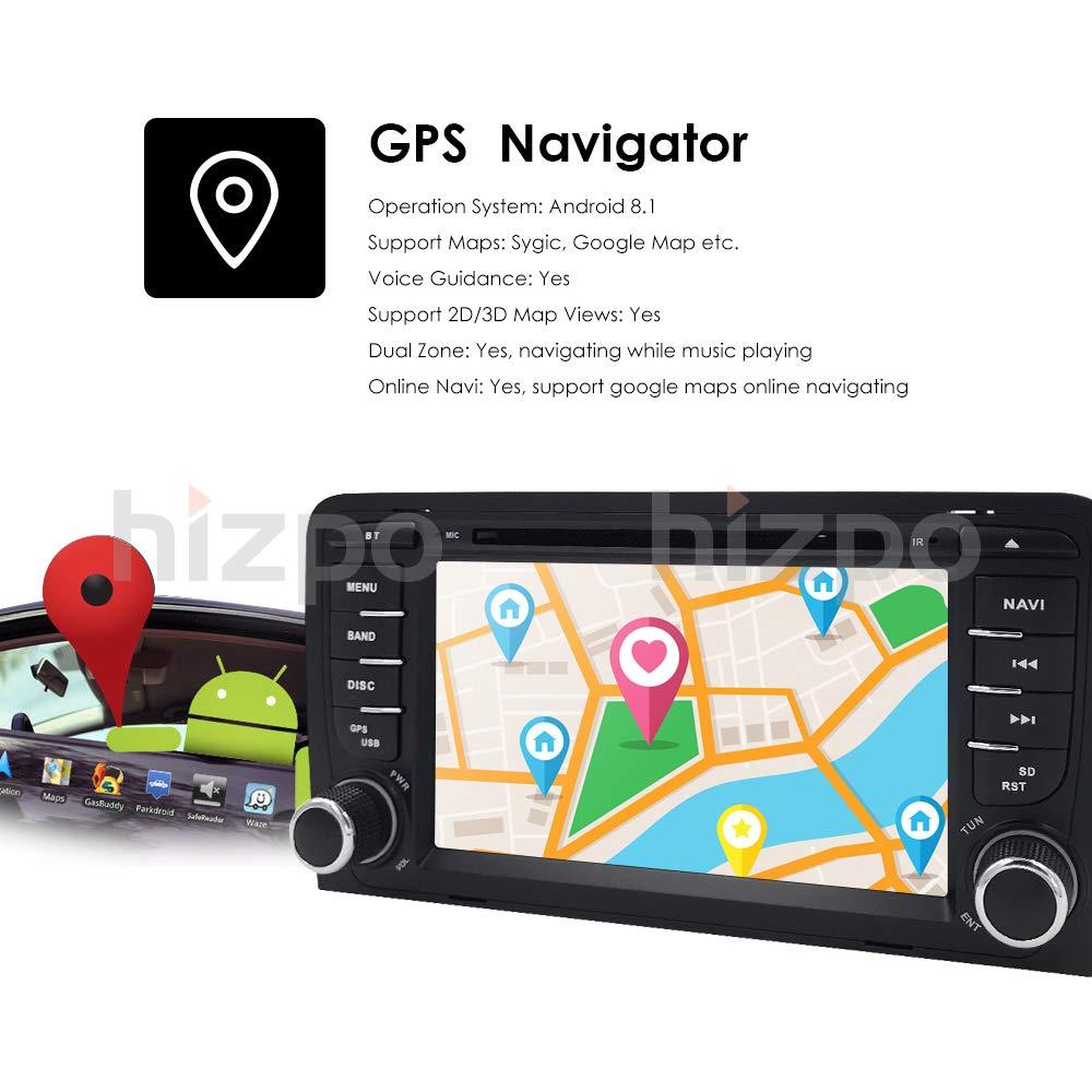 Android 8.1 Quad Core Autoradio lecteur multim/édia 16 Go 2 Go f/ür Audi A3 mit GPS Navi Unterst/ützt Bluetooth WLAN DAB Caisson de basses USB microSD 17,8 cm