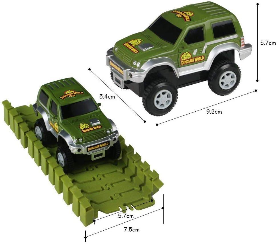 1 Milit/äre Wagen 5 B/äume Flybiz 142 Dinosarier Spielzeug Rennenbahn Auto Rennstrecken-Sets 1 Ball 1 Doppelt/ür und 1 H/ängebr/ücke.Perfektes Geschenk f/ür Junge und M/ädchen 2 Pisten 6 Dinosarier