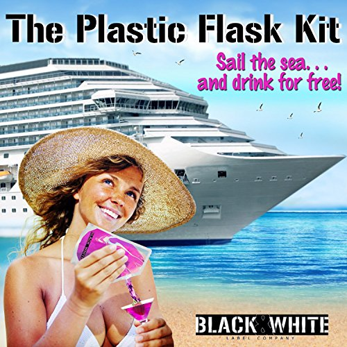 (9) Black & White Label Plastic Flasks Liquor Flask Rum Runner Cruise Kit Sneak Alcohol Drink Wine Pouch Bag Set Concealable Flasks For Booze (3x32oz + 3x16oz + 3x8oz + Wine To Go Flask +Funnel) by Black & White Label Company (Image #3)