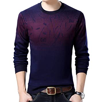 60620ef77d5 FEIDAO Pull Homme Pull Hommes Marque Épaississement Pull Pull Homme O-Cou  Slim Fit Tricot