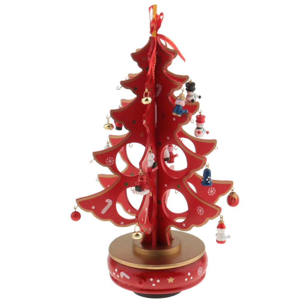 Jili Online New Year Lovely Cartoon Wooden Merry Christmas Tree Decorations Christmas Gifts Ornaments XMAS Table Desk Decor for Home - red by Jili Online (Image #8)