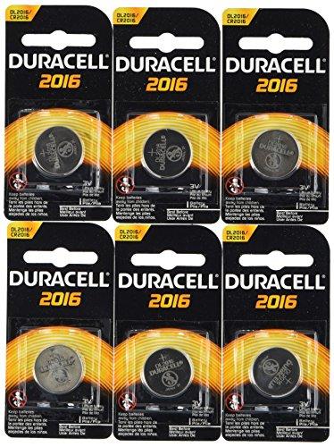 6 each: Duracell Lithium Keyless Entry Battery (DL2016BPK)