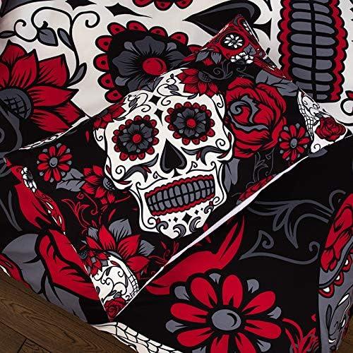ANHHWW Parures De Lit Sets, Parure De Lit pour avec Crâne À Fleurs Rouges Imprimé Coton/Polyester Multicolore 3 Pièces 1 Housse De Couette 240X220Cm Et 2 Taies D'Oreillers 50X75Cm
