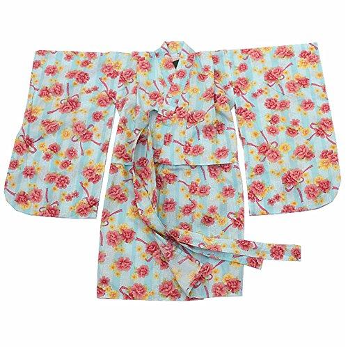 ヘア一回石灰岩女の子の和風ローブコットン着物パジャマドレスドレス - #D
