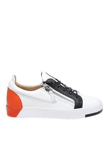 f0c7dd488fb59 Amazon.com   Giuseppe Zanotti Design Men's RM90049002 White Leather Sneakers    Fashion Sneakers