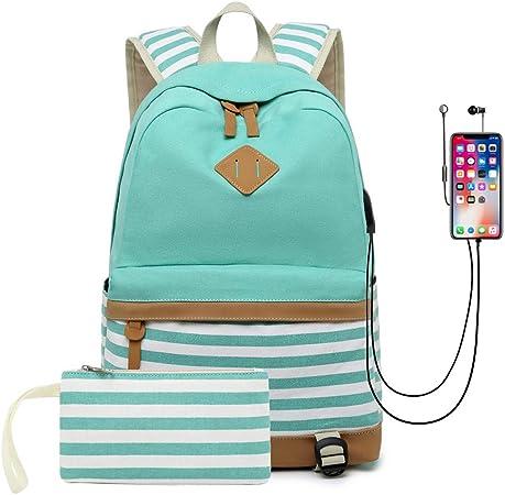 Amazon Com Mochila De Lona Para Estudiantes Unisex Con Puerto De Carga Usb Color Azul M Computers Accessories