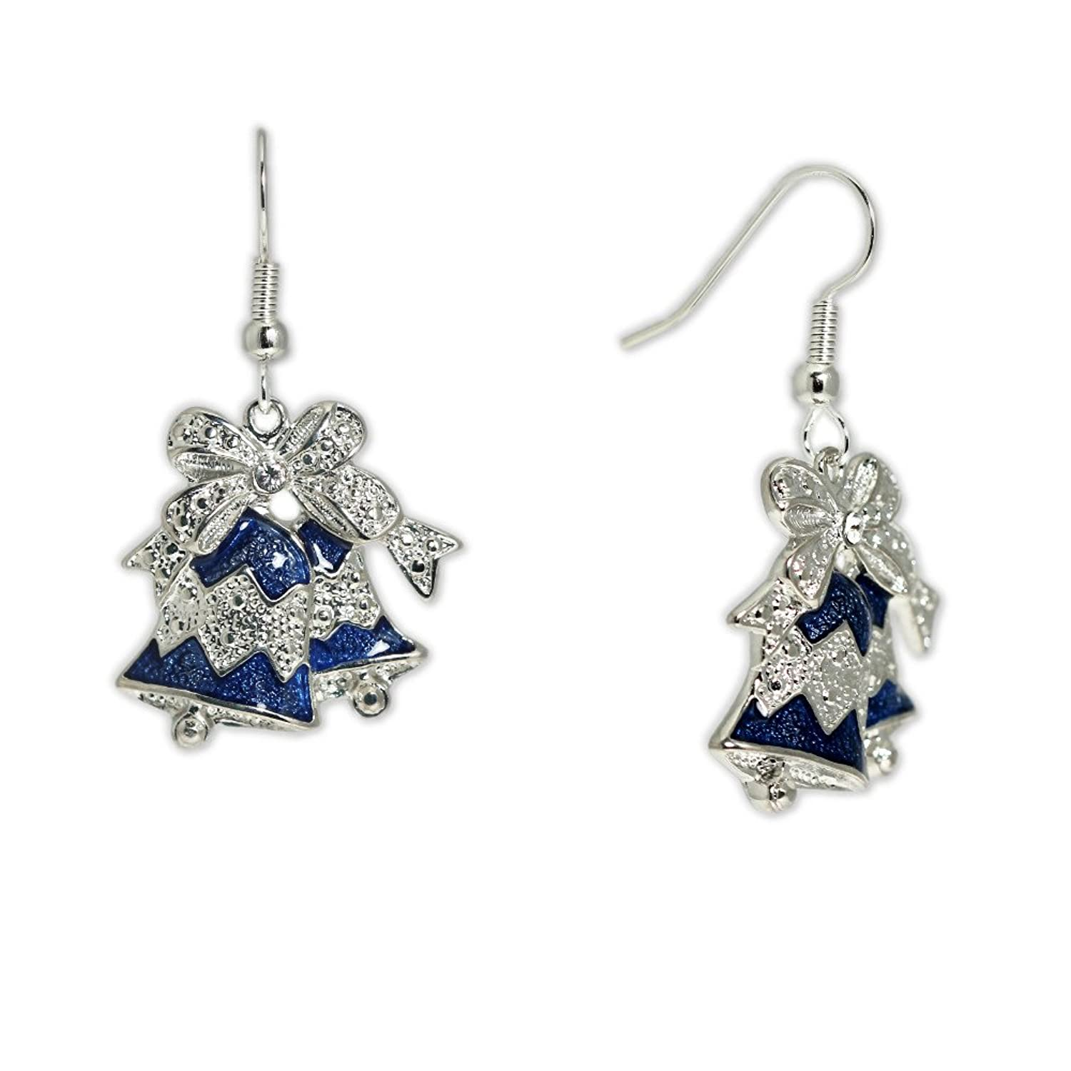 Blue Bells Topped w/ Bow & Clear Crystal Earrings in Silver Tone, Christmas