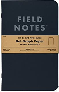 """product image for Field Notes Pitch Black Notebook - 2-Pack - Large Size (4.75"""" x 7.5"""") - Dot-Graph Paper"""