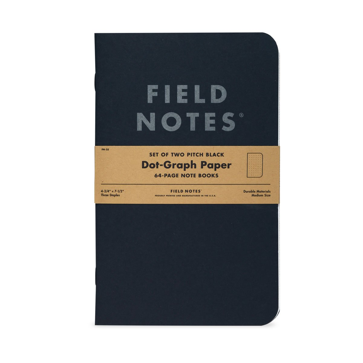 FIELD NOTES - Pitch Black Dot-Graph Note Book 2-Pack - 4.75'' x 7.5''
