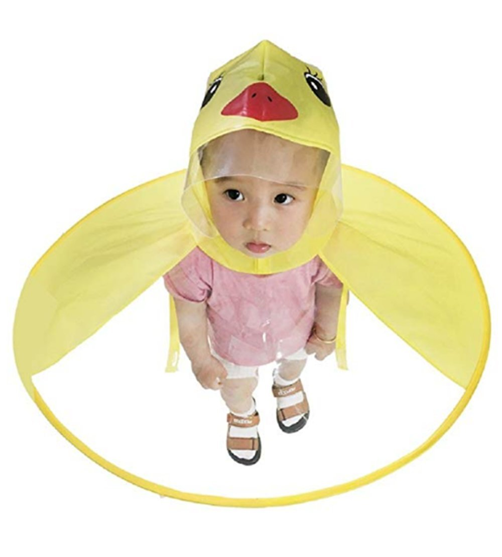 ANEXA Cute Kids Raincoat Cartoon Umbrella Yellow Duck Packable Children's Hooded Poncho Cloak (Small, Yellow Duck)