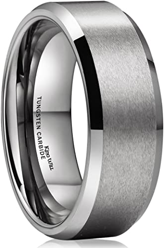 King Will Basic Men/'s Tungsten Carbide Ring 8mm Polished Beveled Edge Matte Brus