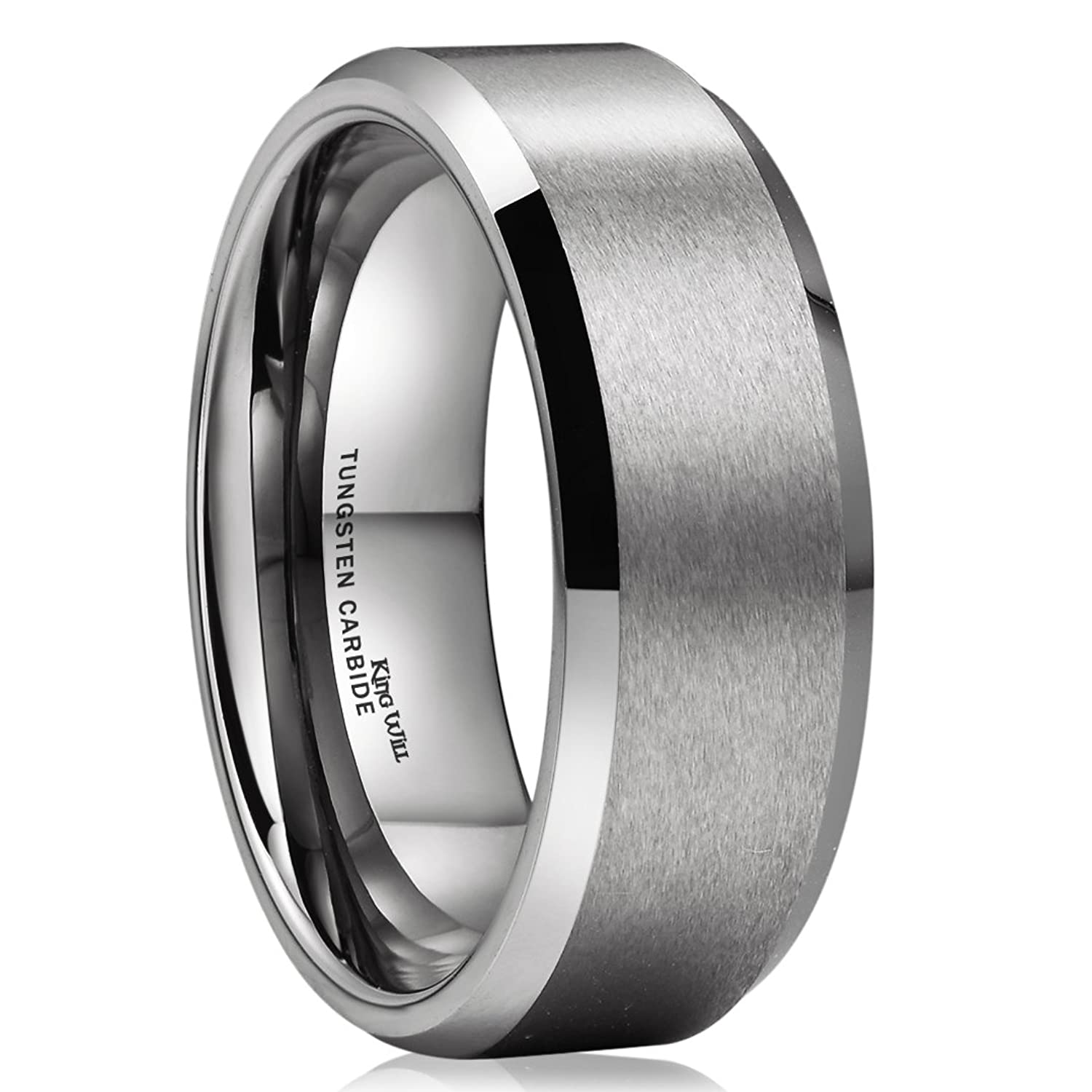 Charmant King Will BASIC Unisex 8mm Tungsten Carbide Matte Polished Finish Wedding  Engagement Band Ring