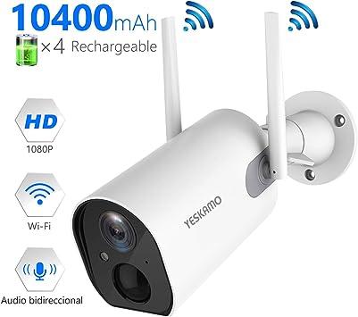 YESKAMO Cámara de Vigilancia de Batería Interior/Exterior Inalámbrica 10400mAh HD 1080P Cámara IP WiFi con Detección de Movimiento Audio Bidireccional para Seguridad en El Hogar: Amazon.es: Bricolaje y herramientas