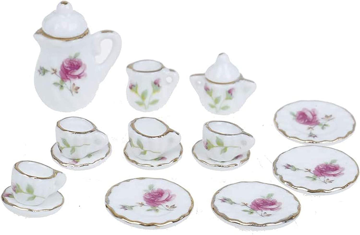 CoscosX 15 Pcs 1:12 Dollhouse Dining Ware Miniature Dish Cup Plate Pink Rose Chintz with Golden Trim Tableware Porcelain Ceramic Coffee Tea Cups Set,Dollhouse Decoration Kitchen Accessories