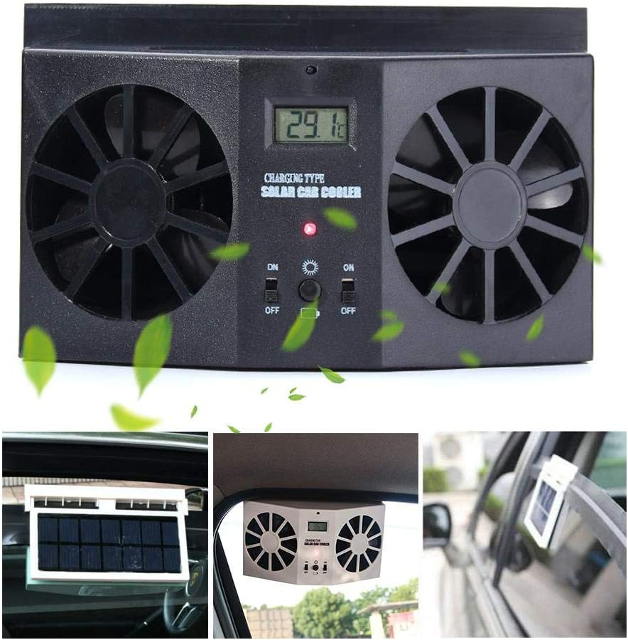 Volwco Solar Powered Car Fan Window Auto Air Vent Exhaust Fan Radiator with Rubber Strip,Eliminate Peculiar Smell Inside The Car,for General Car Types