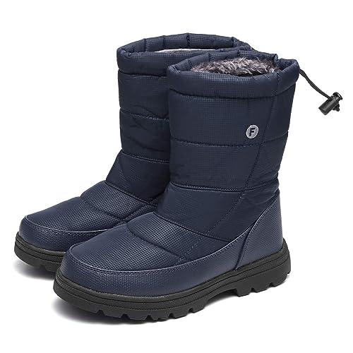 gracosy Winterschuhe Damen Gefüttert Wasserdicht Winterstiefel Flach rutschfeste Schneestiefel Thermostiefel Leicht Outdoor Winter Boots Damen Herren