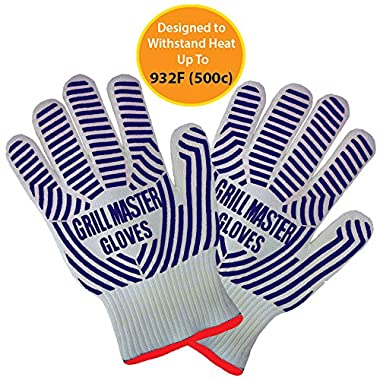 Oven Gloves Heat Resistant Certified to 932°F Set of 2 Ideal Oven Mitts and Pot Holders Replacement for Grilling, BBQ, Smoking ( Blue ) by Grill Master