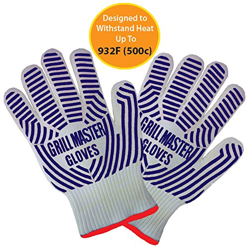 Extreme Heat Resistant Oven Gloves - Ideal BBQ Gloves / Grilling Gloves Rated to 932f for the Grill, Kitchen, Baking by Grill Master ( Blue )