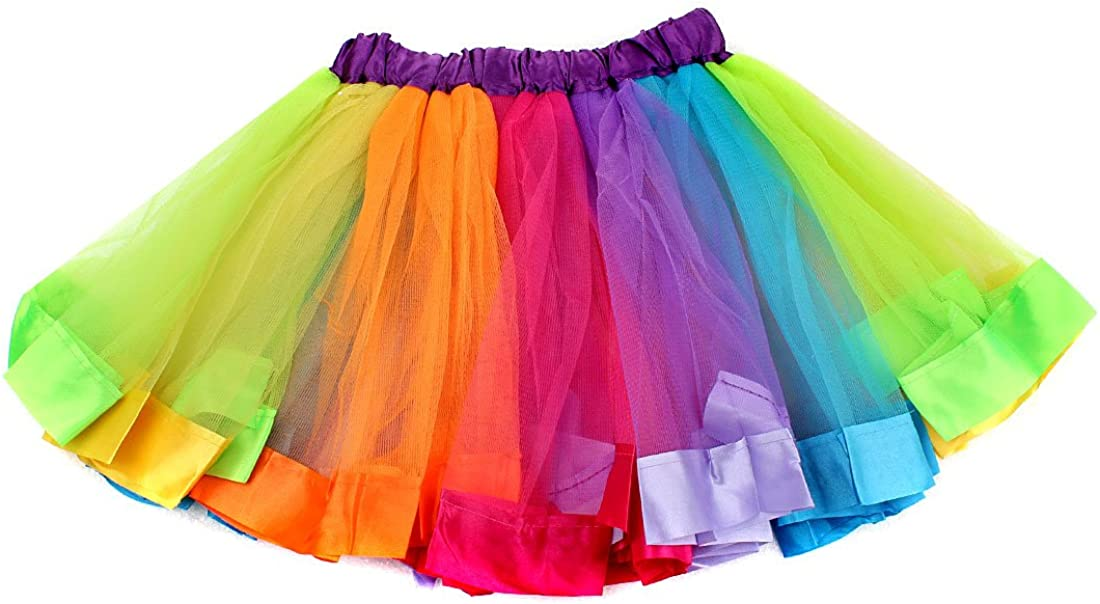 ECOSCO Girls Rainbow Layered Tutu Skirt with Unicorn Headband Ballet Dance Costume Set