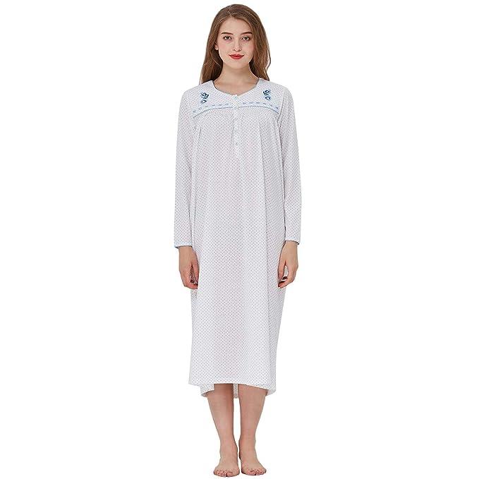 Amazon.com: Keyocean - Camisón de noche para mujer, algodón ...