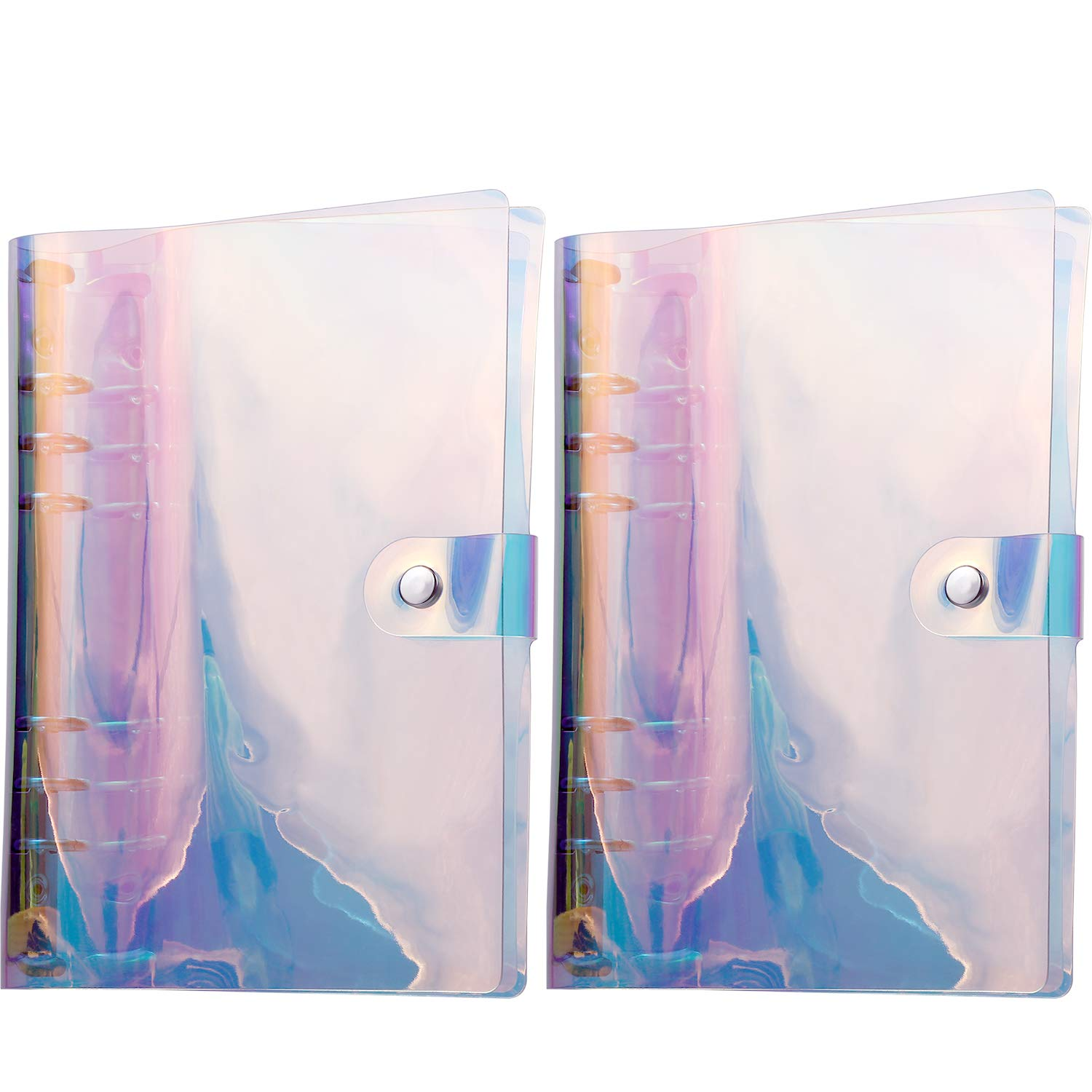 TecUnite 2 Pack Notebook Binder Covers 6 Ring Rainbow Binders with Button Closure (19 x 13 cm for A6)