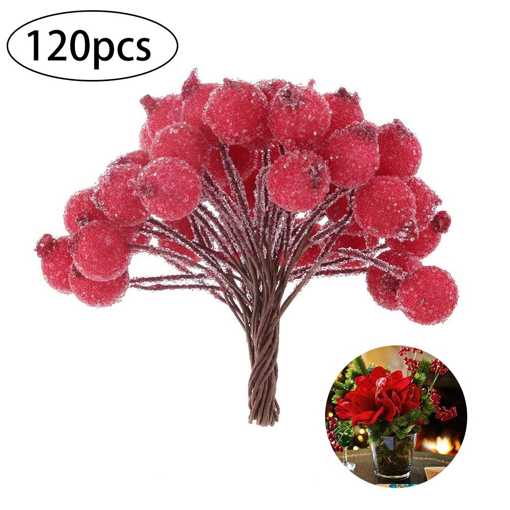 Pack of 120pcs Artificial Holly Berries Foam Frosted Fruit Holly Berry Table Centerpiece Mini Christmas Frosted Fruit Berry Holly Artificial Flower Decor (Red, 12cm/4.7in) Hilai