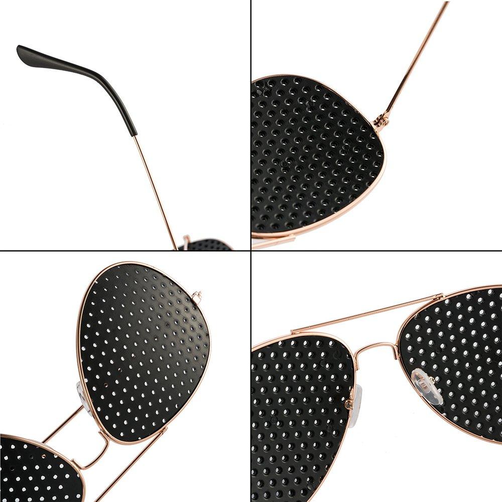 FREESOO Moda Occhiali Forati con Bordi Metallici Occhiali da Sole Piccoli Fori Microporosi a Pinhole Protegge la Vista per Uomo Donna Adolescenti Rosa Oro 5B8AaLb
