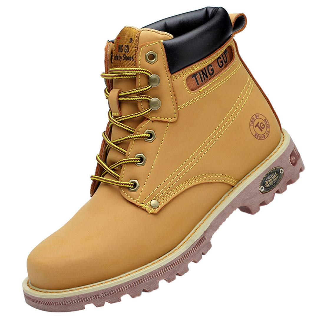 Men Women Couple High-Top Anti-Smash Short Boots High Tube Safety Shoes Non-Slip Wear Resistant Martin Boots (Yellow, 9-US) by heavKin-Boots