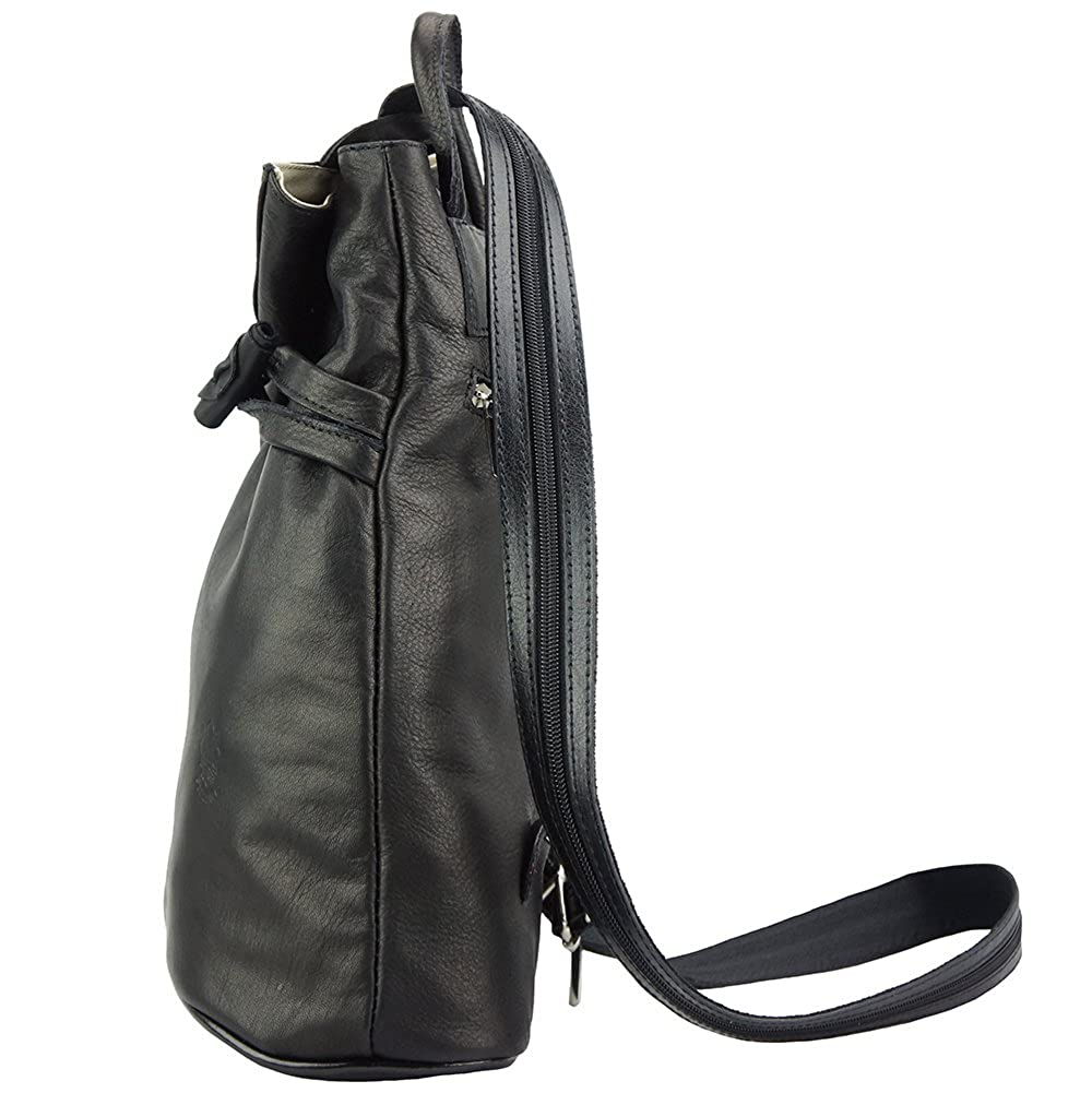 5c8ffa4089 BACKPACK PURSE AND SHOULDER BAG FIORELLA WITH MANY POCKETS IN GENUINE  LEATHER 2062 (Black)  Amazon.co.uk  Shoes   Bags