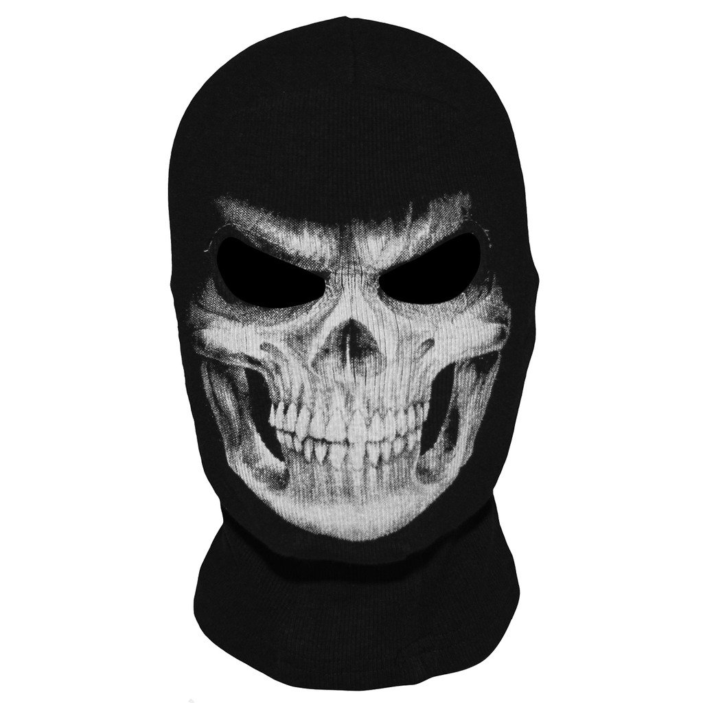 JIUSY Skeleton Skull Balaclava Ghost Death Neck Warmer Face Mask Headwear Protection Motorcycle Cycling Skiing Snowboarding Cosplay Costume Halloween Party Winter/Summer Grim01 Black