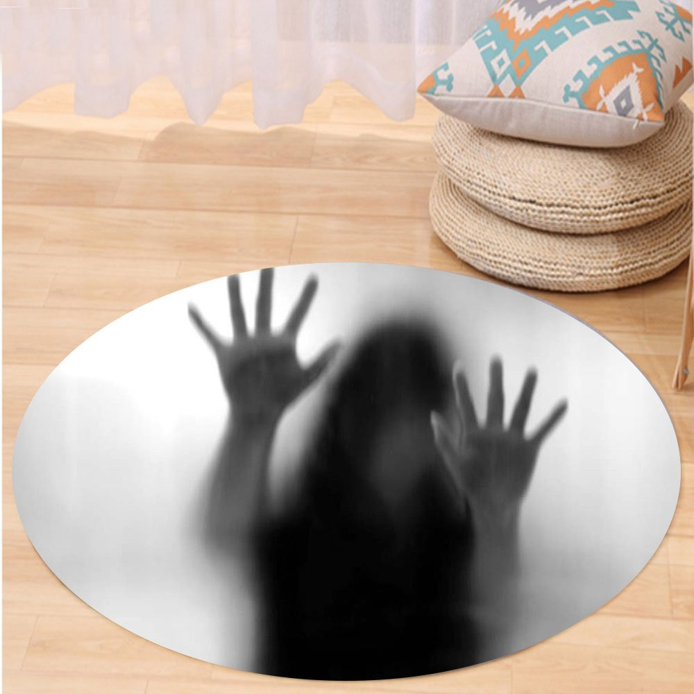 VROSELV Custom carpetHorror House Decor Silhouette of Woman behind the Veil Scared to Death Obscured Paranormal Photo for Bedroom Living Room Dorm Gray Round 72 inches