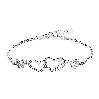 """f6ab893bdbf12 Merida S925 sterling coeur en argent avec un Bracelet zirconia cubique  Femmes 7.5 """""""