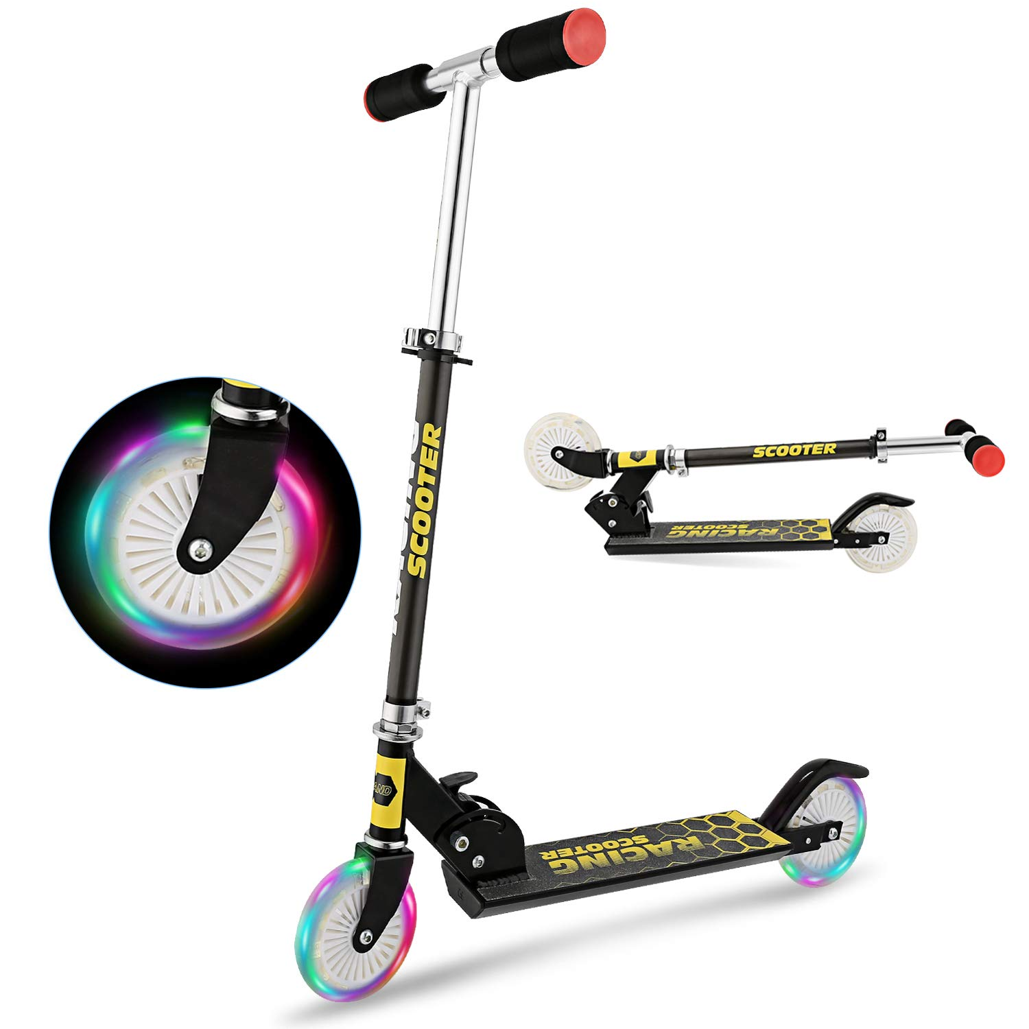 YUEBO Kick Scooter for Kids with LED Light Up Wheels, Adjustable Height, Lightweight Aluminum Folding Kids Scooters 2 Wheel for Girls Boys,110lb Weight Capacity