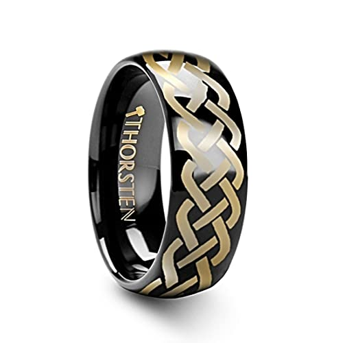 Thorsten IDASON Celtic Knot Design Print Pattern Ring Domed Shape Black Tungsten Ring 12mm Wide Wedding Band from Roy Rose Jewelry