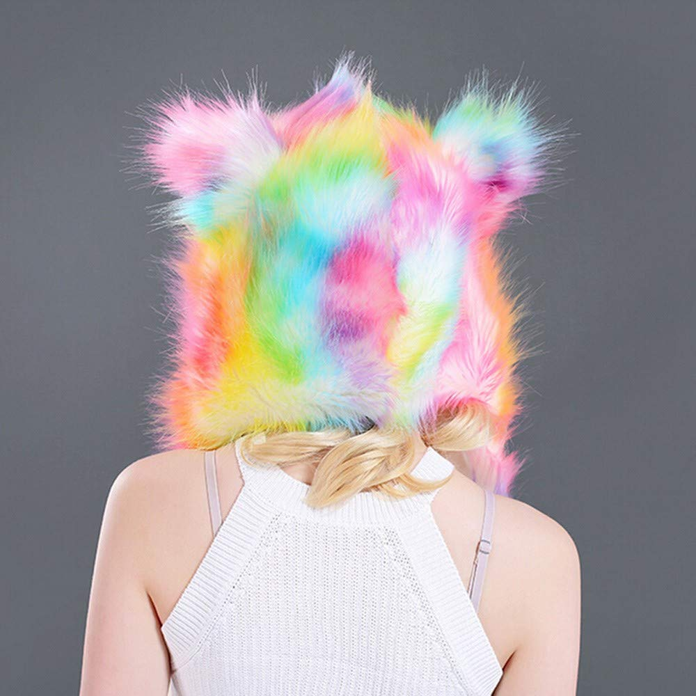 9964d82621a Amazon.com  EnjoCho Winter Faux Fur Hood Animal Hoods Hat Cap Cartoon Plush  Hats with Scarf Paws Sets Warm Caps Beanies Cartoon Hat (Pink)  Office  Products
