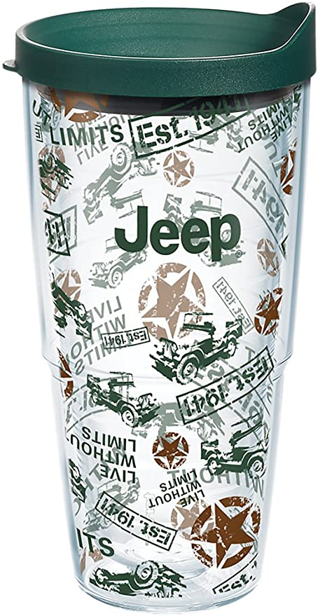cdbee5fb1cb Tervis 1269545 Jeep Brand - All Over Pattern Tumbler with Wrap and Hunter  Green Lid 24oz, Clear