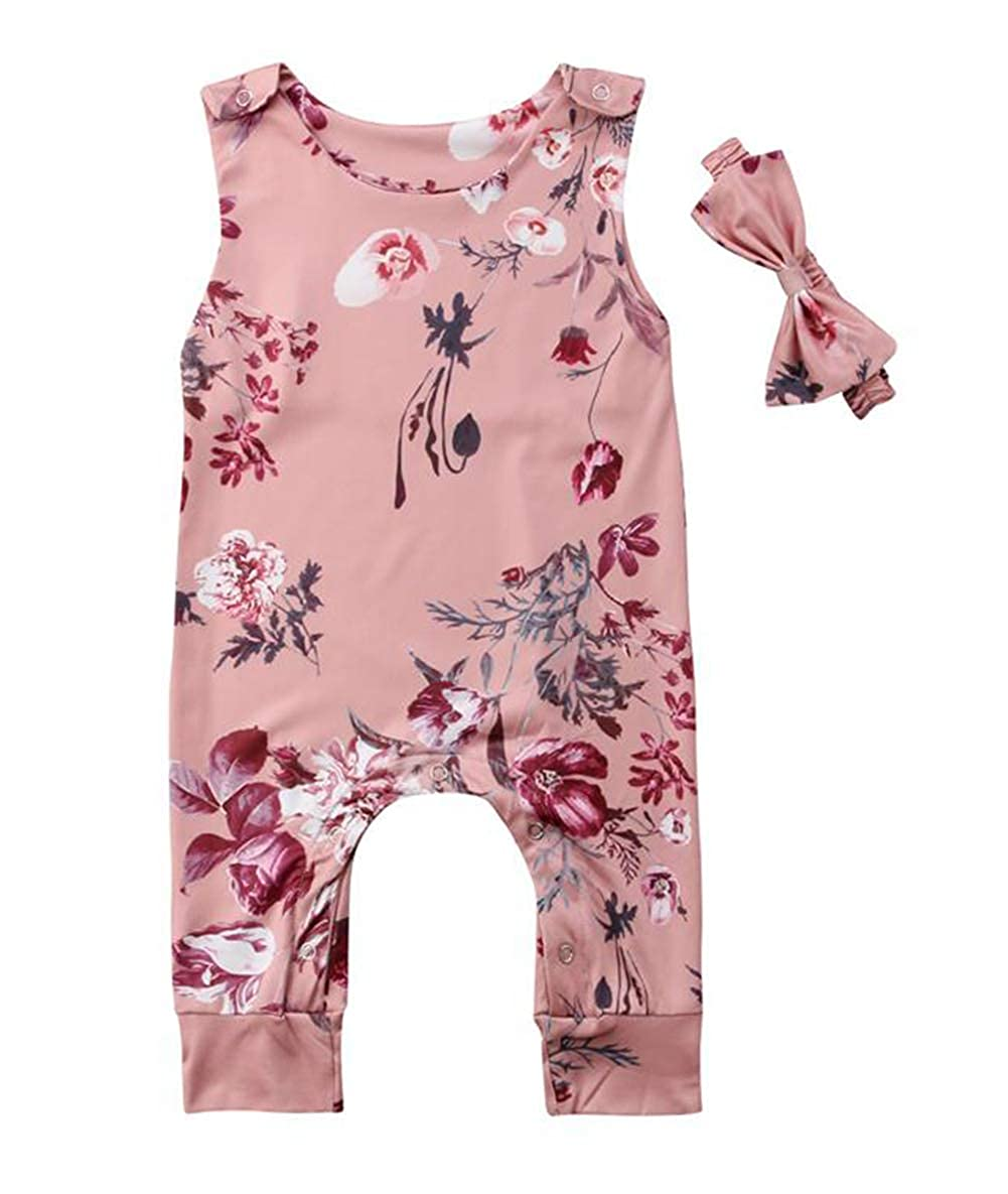 Styles I Love Infant Baby Girl Garden Floral Sleeveless Pink Romper with Headband 2pcs Casual Summer Outfit