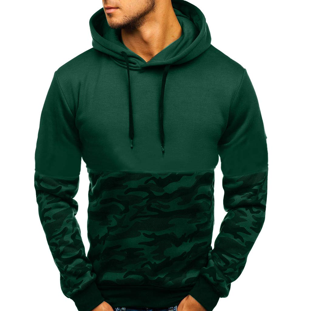 Connia Men Sweatshirt Casual Camouflage Long Sleeve Button Autumn Winter Hooded Top Blouse Pullover (A❤Green, L)