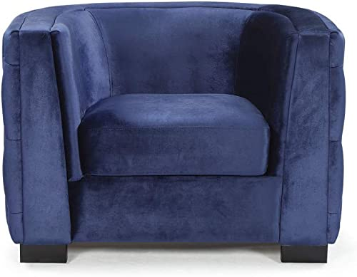 Iconic Home Saratov Club Chair Velvet Upholstered Button Tufted Curved Shelter Arm Design Espresso Finished Wood Legs Modern Transitional Navy