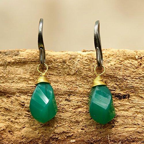 Green Onyx Earrings (Green onyx drops twist faceted earrings with oxidized sterling silver hooks)