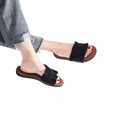 YUCH Women's Cool Pantoufles Et Sandales À Fond Plat,Black,38