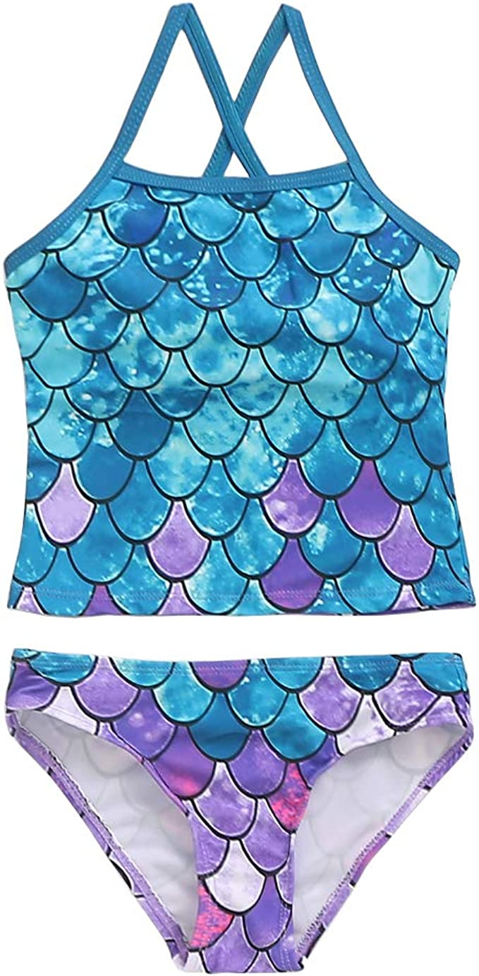 PHIBEE Girls Tankini Summer Bathing Two-Piece Swimsuit