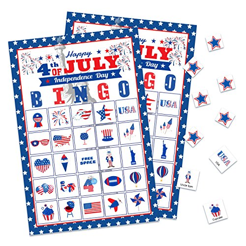 4th Of July Party Games (Fourth/4th of July Bingo Game Cards- Patriotic Party Supplies(24)