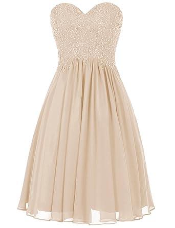 BetterGirl Damen Chiffon Abendkleider Elegant Kurz Ballkleid Schatzhals Partykleider  Spitze Hochzeitskleider  Amazon.de  Bekleidung 0c6eadad32
